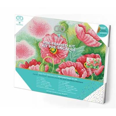 KIT BRODERIE DIAMANT SQUARES - WATERCOLOUR POPPIES - PRE-ENCADRE