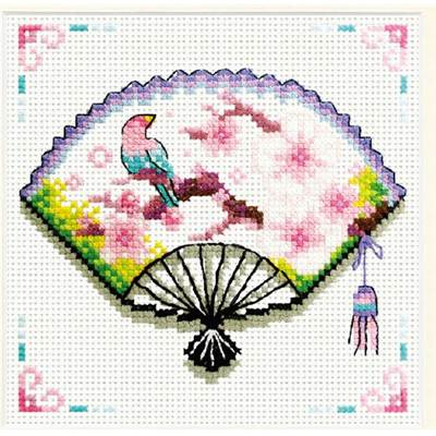 NO COUNT CROSS STITCH - EVENTAIL AUX FLEURS DE CERISIER