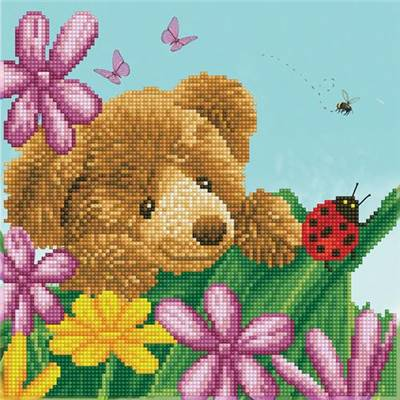 KIT BRODERIE DIAMANT - HONEY POT BEAR HIDE & SEEK