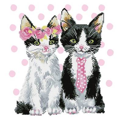 KIT BRODERIE DIAMANT - LE COUPLE DE CHATS ROSES
