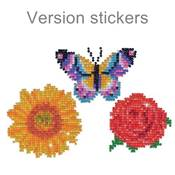 KIT BRODERIE DIAMANT - LOT 3 STICKERS FLEURS ET PAPILLON