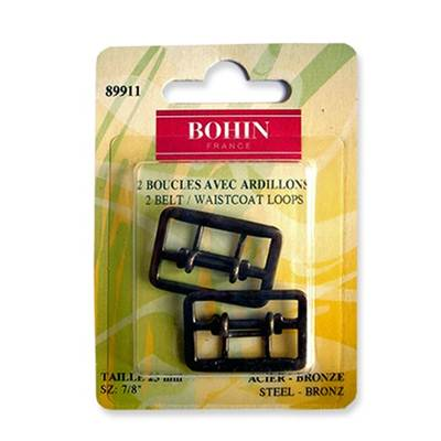 BOUCLES GILET A ARDILLONS 23MM BRONZE - BLISTER DE 2
