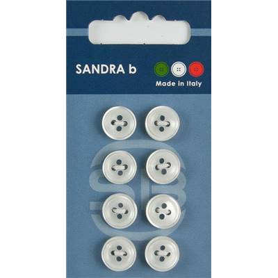 "Carte 8 boutons chemise polyester ""Tokyo"" - 11 mm - Blanc"