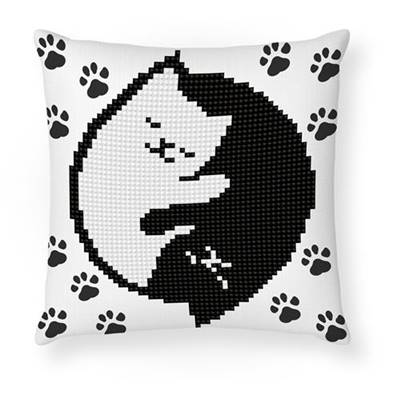 KIT BRODERIE DIAMANT COUSSIN - PETIT CHAT FLUORESCENT