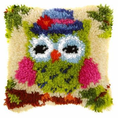 Latch Hook Cushion Kit Mister Owl 25 5 X 25 5 Cm