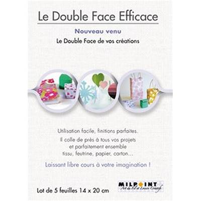 LE DOUBLE-FACE EFFICACE - LOT DE 5 FEUILLES 20 X 14 CM