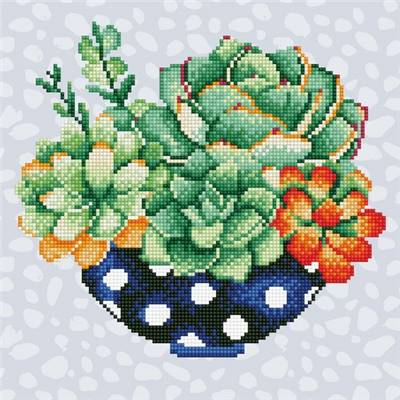 KIT DIAMOND ART INTERMEDIAIRE - POT DE SUCCULENTES