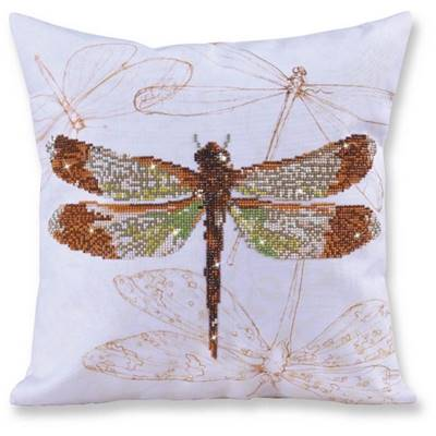 KIT BRODERIE DIAMANT - COUSSIN DECORATIF LIBELLULE