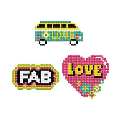 KIT BRODERIE DIAMANT DOTZIES - LOT 3 STICKERS LOVE