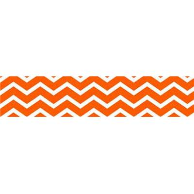 TISSU 100% COTON - CHEVRONS FOND ORANGE -160 CM- MINIMUM 5 M