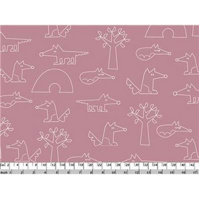 TISSU LITTLE FOX FAMILY -100% COTON -110 CM-p de 4 m environ