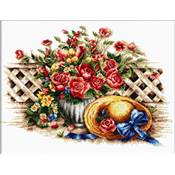 NO COUNT CROSS STITCH - LE CHAPEAU DE PAILLE ET LE BOUQUET DE ROSES