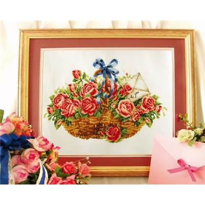 NO COUNT CROSS STITCH - UN PANIER DE ROSES