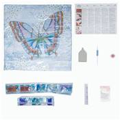 KIT BRODERIE DIAMANT - COUSSIN DECORATIF PAPILLON BLEU