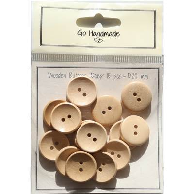 LOT 15 BOUTONS BOIS NATUREL - DEEP - 20 MM