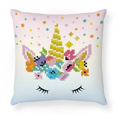 KIT BRODERIE DIAMANT COUSSIN - LA LICORNE CLOWN