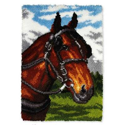 KIT TAPIS POINT NOUE 50 X 75 CM - TÊTE DE CHEVAL