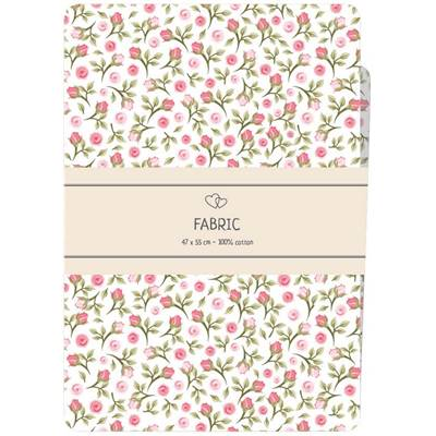 COUPON TISSU IMPRIME 100% COTON - FAT QUARTER 47X55 CM -ROSE & BLANC
