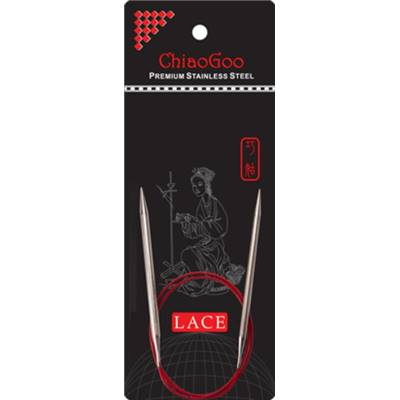 AIGUILLES CIRCULAIRES FIXES METAL CHIAOGOO RED LACE - 40CM - N°8