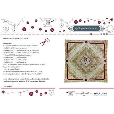 CREATION MARIE SUAREZ - SEMI KIT QUILT JARDIN D'AMOUR BEIGE ROUGE