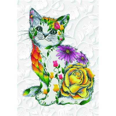 KIT BRODERIE DIAMANT - LE CHAT FLEURI