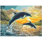 KIT BRODERIE DIAMANT SQUARES - DOLPHIN SUNSET