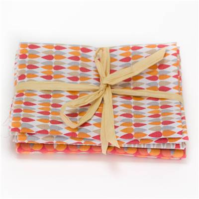 4 COUPONS TISSUS 45X55 GEOMETRIC ORANGE