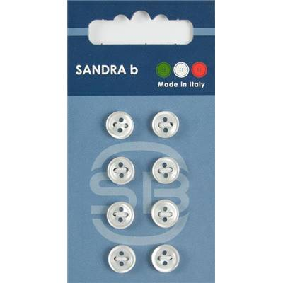 "Carte 8 boutons chemise polyester ""Tokyo"" - 9 mm - Blanc"
