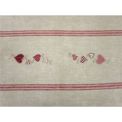 KIT CHEMIN DE TABLE A BRODER - LIN NATUREL 158 X 53 CM - RAYE ROUGE