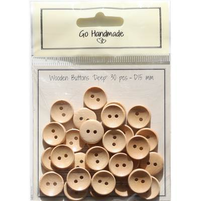 LOT 30 BOUTONS BOIS NATUREL - DEEP - 15 MM