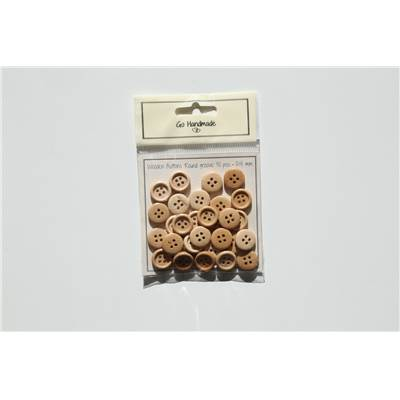 LOT 30 BOUTONS BOIS NATUREL - ROUND GROOVE - 15 MM