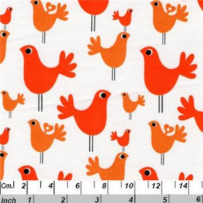 TISSU BIRDS-ORANGE-100% COTON -110 CM-p de 4 m environ