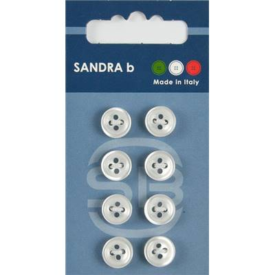 "Carte 8 boutons chemise polyester ""Tokyo"" - 10 mm - Blanc"