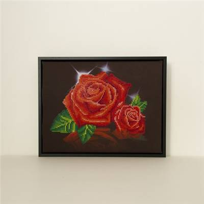 MODELE REALISE ENCADRE DIAMOND DOTZ ROSES ROUGES 29.5X37.5 CM