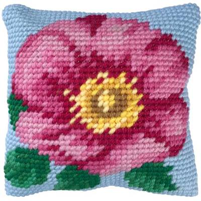 COUSSIN TAPISSERIE LADYBIRD - ROSE SAUVAGE  - 22 X 22 CM