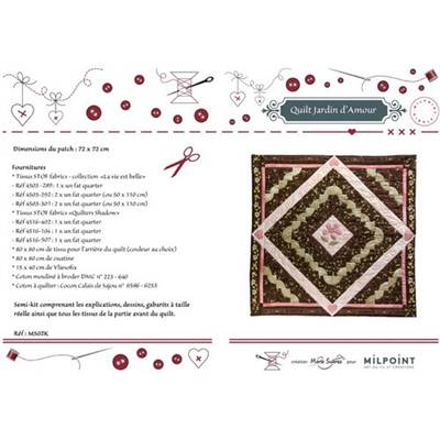 CREATION MARIE SUAREZ - SEMI KIT QUILT JARDIN D'AMOUR BRUN ROSE