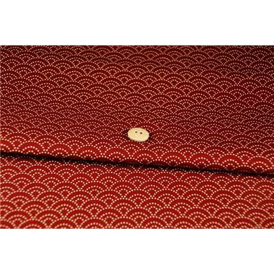 COUPON TISSU 45X55 JAP VAGUE ROUGE