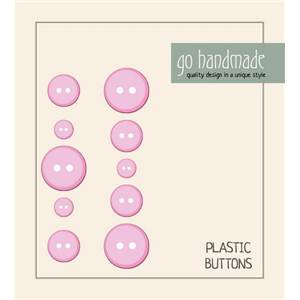 CARTE 10 BOUTONS PLASTIQUE ASSORTIS 9-11-13 MM - ROSE