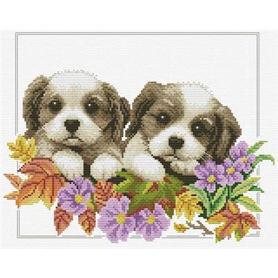 NO COUNT CROSS STITCH - PEEKING PUPS