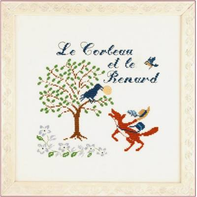 DIAGRAMME POINT DE CROIX ABC COLLECTION- LE CORBEAU ET LE RENARD COUL