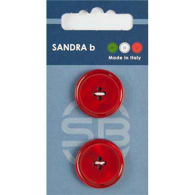 Carte 2 boutons polyester 4 trous Australian - 23 mm - Rouge