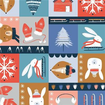 TISSU DASHWOOD STUDIO - SNOW MUCH FUN 1705 - COTON - 110 CM